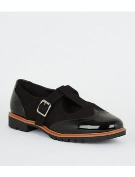 Wide Fit Black Mixed Mary Jane Shoes by New Look