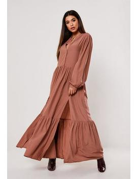 Dusky Pink Oversized Tiered Maxi Dress by Missguided