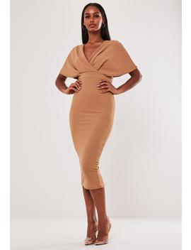 Camel Wrap Kimono Midi Dress by Missguided