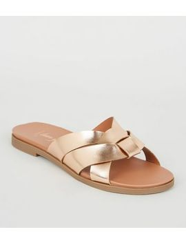 Wide Fit Rose Gold Footbed Sliders by New Look