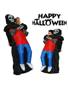 Halloween Inflatable Costume Black Ghost Carrying Human Cosplay Suits Adult/Kid by Timechee