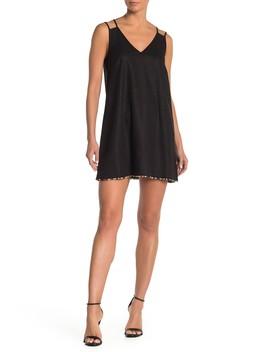Sleeveless Pompom Linen Blend Mini Dress by Bcb Generation
