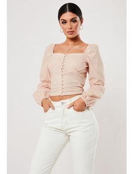 Pink Poplin Button Front Milkmaid Top by Missguided