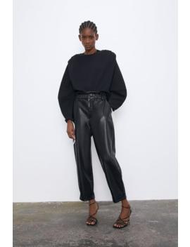 Faux Leather Tapered Pants  Pantswoman by Zara