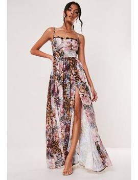 Pink Floral Leopard Print Cupped Maxi Dress by Missguided