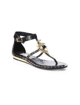 Ivy Kirzhner Babel Jeweled Snakeskin Sandals In Black, Sz. Us 8 by Ebay Seller