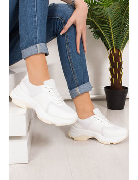 Nina White Chunky Sole Trainers by Lavish Luxe