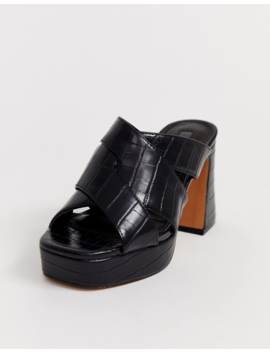 Topshop Platform Mules With Cros Front In Black by Topshop