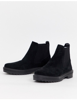 Office Archie Black Suede Flat Chelsea Ankle Boots by Office