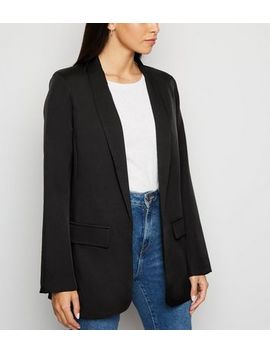 Black Longline Blazer by New Look