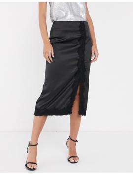 Vila Satin Midi Skirt With Lace Trim Split by Vila