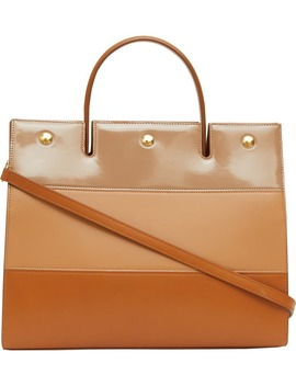 Medium Title Colorblock Leather Top Handle Tote by Burberry