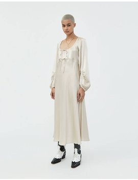 Gathered Detail Empire Dress In Champagne by Alexa Chung Alexa Chung