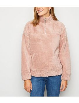 Mid Pink Teddy Zip Neck Sweatshirt by New Look