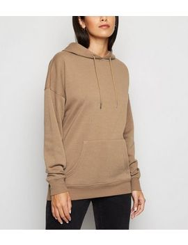 Light Brown Long Sleeve Jersey Hoodie by New Look