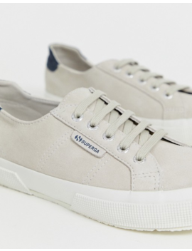 Superga Classic 2750 Cream Suede With Snake Emboss Trim Canvas Trainers by Superga