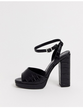 New Look Chunky Flatform In Black Croc by New Look