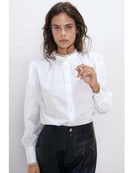 Poplinskjorte Med BØlget Kant Se Alle Skjorter Og Bluser Dame by Zara