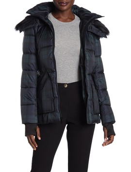 Plaid Faux Fur Trimmed Quilted Jacket by French Connection