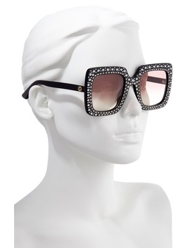 52mm Crystal Embellished Square Sunglasses by Gucci