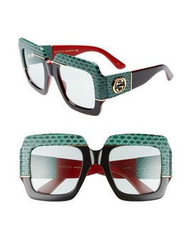 54mm Genuine Snakeskin Embellished Square Sunglasses by Gucci