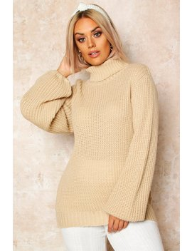 Plus Roll Neck Balloon Sleeve Jumper by Boohoo