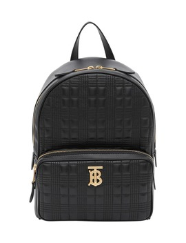 Tb Quilted Check Leather Backpack by Burberry