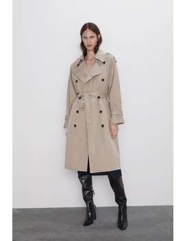 Water Repellent Buttoned Trench Coat Trench Coats Coats Woman by Zara