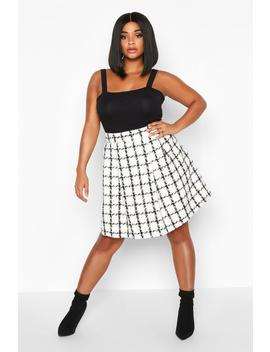 Plus Double Check Pleated Mini Skirt by Boohoo