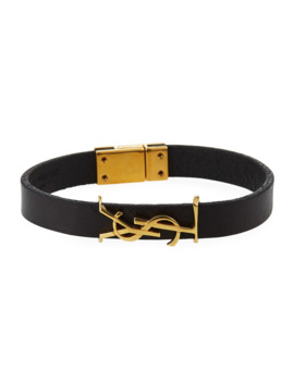 Leather Ysl Monogram Bracelet, Black/Gold by Saint Laurent
