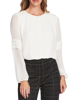 Pleated Long Sleeve Chiffon Blouse by Vince Camuto