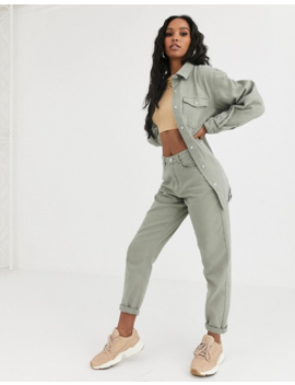 Missguided Co Ord Oversized Denim Shirt In Sage by Missguided's