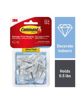 Command Clear Small Wire Hooks, 9 Hooks, 12 Strips (Holds 0.5 Lb) by Command