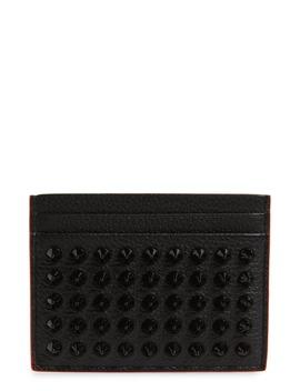 Kios Spikes Calfskin Leather Card Case by Christian Louboutin