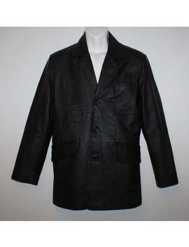 Vintage Superb Black Leather Angelo Litrico Button Hip Length Biker Blazer Jacket Size S by Etsy