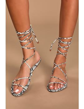 Davida White Snake Print Lace Up Sandals by Lulu's