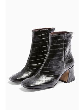 Vienna Vegan Black Croc Flared Boots by Topshop
