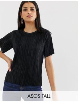 Asos Design Tall T Shirt In Plisse by Asos Design
