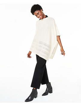 Metallic Open Stitch Poncho Sweater, Created For Macy's by General