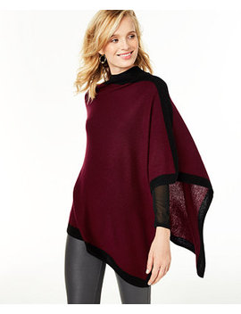 Cashmere Border Poncho, Created For Macy's by General
