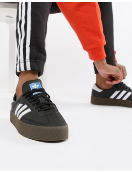 Adidas Originals Black And White Gum Sole Samba Rose Trainers by Adidas