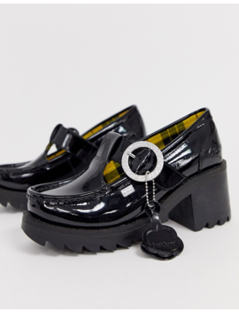 Kickers Klio T Bar Black Patent Leather Low Heel Shoes by Kickers
