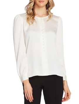 Puff Shoulder Hammered Satin Blouse by Vince Camuto