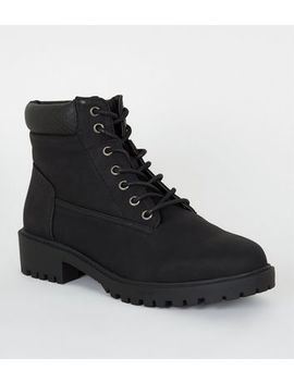 Wide Fit Leather Look Lace Up Boots by New Look