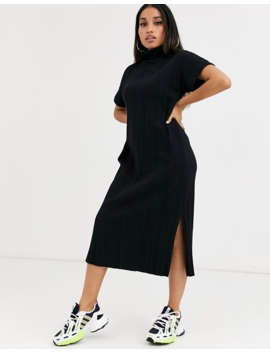 Asos Design Petite Extreme Rib Midi T Shirt Dress by Asos Design