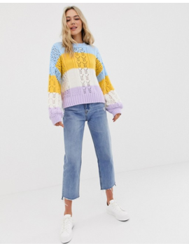 Asos Design Striped Open Stitch Sweater In Fluffy Yarn by Asos Design
