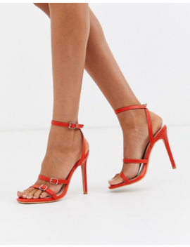 Missguided Three Strap Barely There Heeled Sandal With Buckle Detail In Red by Missguided's