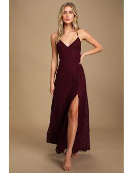 Destinee Burgundy Lace Sleeveless Maxi Dress by Lulus