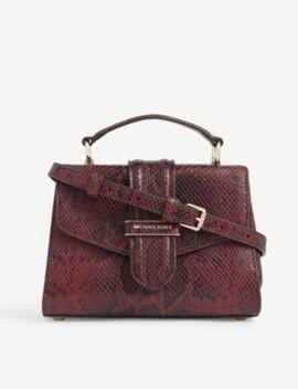 Bleecker Small Snakeskin Embossed Leather Shoulder Bag by Michael Michael Kors