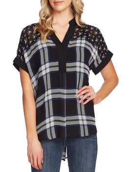 Pattern Mix Short Sleeve Blouse by Vince Camuto